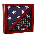 "Rosewood Finish Piano Flag Case Flag & Memorabilia Display Case JDS PFC18 - $165 size: 17.75"" x 17.75"" holds flag size: 5' x9.5"" (Flag & Memorabilia not included)"